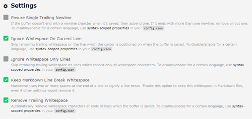 settings for whitespace (ATOM)